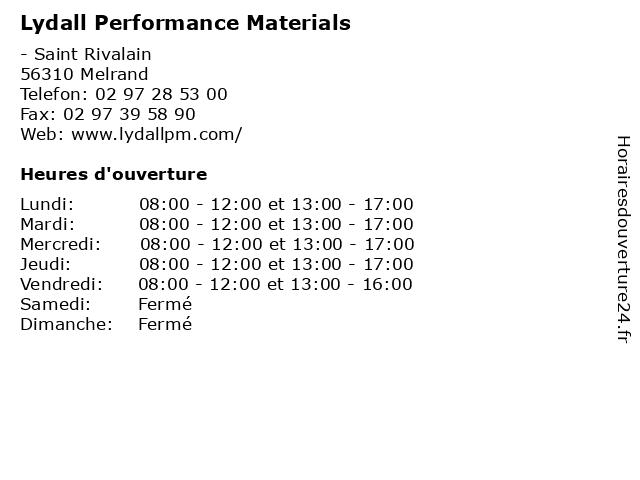 Lydall Performance Materials à Melrand: adresse et heures d'ouverture