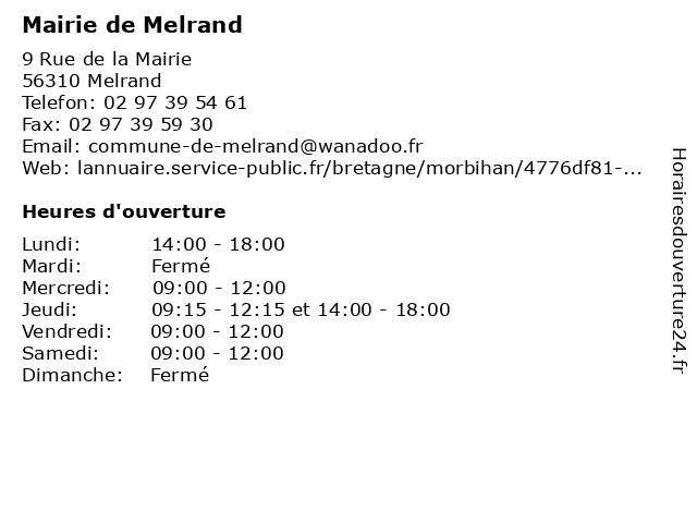 Mairie de Melrand à Melrand: adresse et heures d'ouverture
