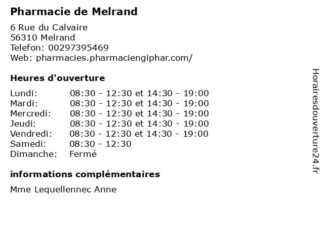 Pharmacie de Melrand à Melrand: adresse et heures d'ouverture