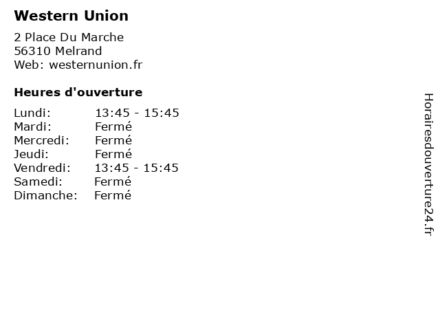 Western Union à Melrand: adresse et heures d'ouverture