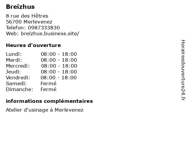 Breizhus à Merlevenez: adresse et heures d'ouverture