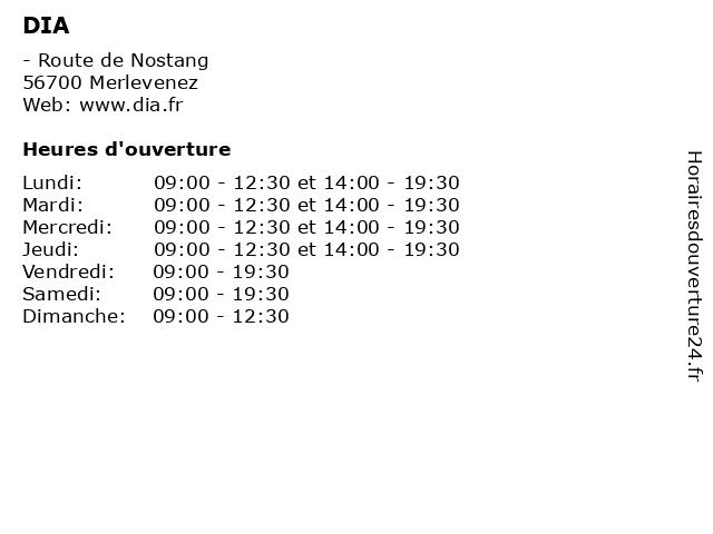 DIA à Merlevenez: adresse et heures d'ouverture