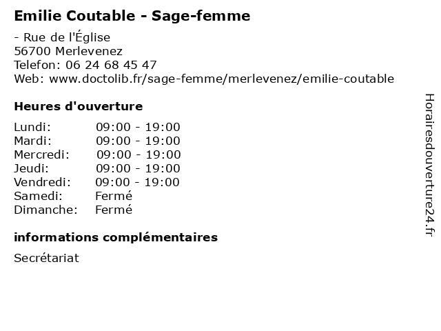 Emilie Coutable - Sage-femme à Merlevenez: adresse et heures d'ouverture