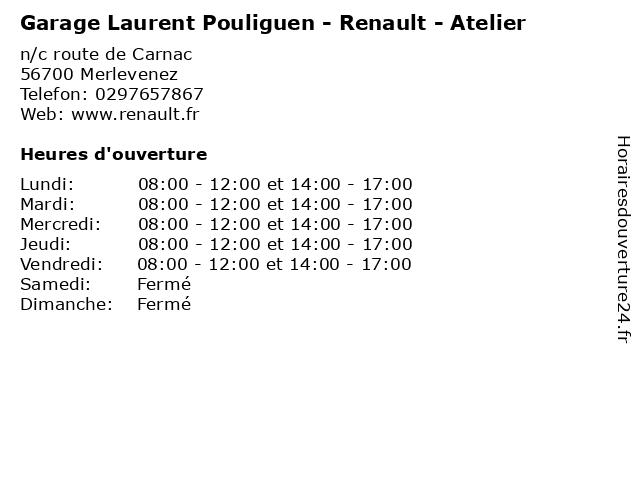 Garage Laurent Pouliguen - Renault - Atelier à Merlevenez: adresse et heures d'ouverture