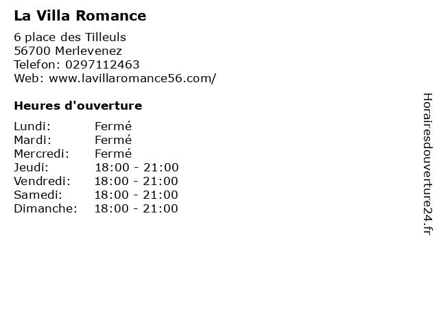 La Villa Romance à Merlevenez: adresse et heures d'ouverture