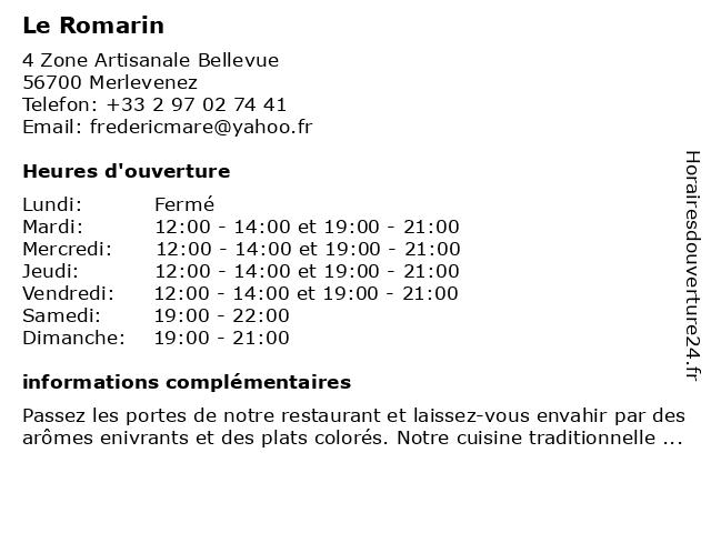 Le Romarin à Merlevenez: adresse et heures d'ouverture