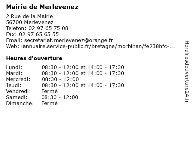Mairie de Merlevenez à Merlevenez: adresse et heures d'ouverture