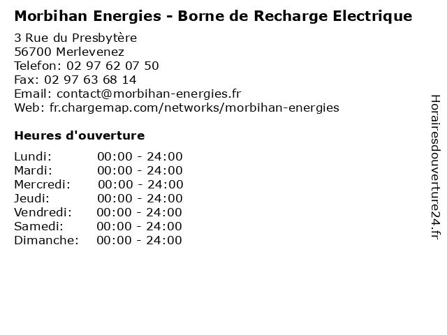 Morbihan Energies - Borne de Recharge Electrique à Merlevenez: adresse et heures d'ouverture
