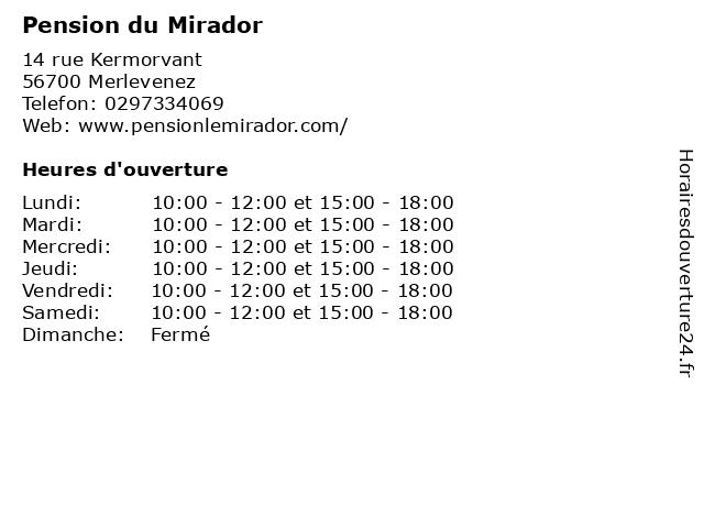 Pension du Mirador à Merlevenez: adresse et heures d'ouverture