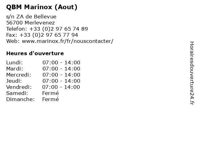QBM Marinox (Aout) à Merlevenez: adresse et heures d'ouverture