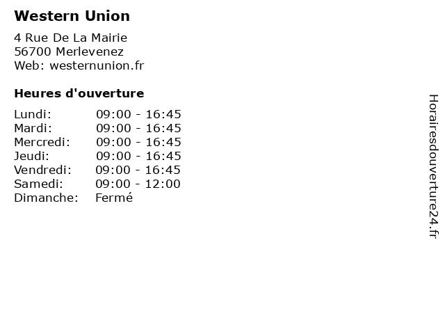 Western Union à Merlevenez: adresse et heures d'ouverture