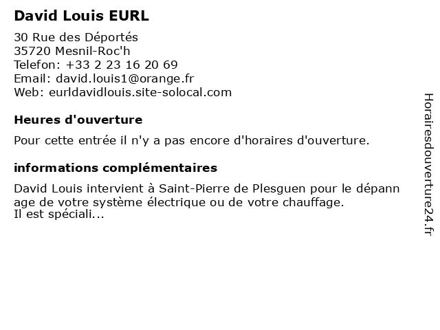 David Louis EURL à Mesnil-Roc'h: adresse et heures d'ouverture