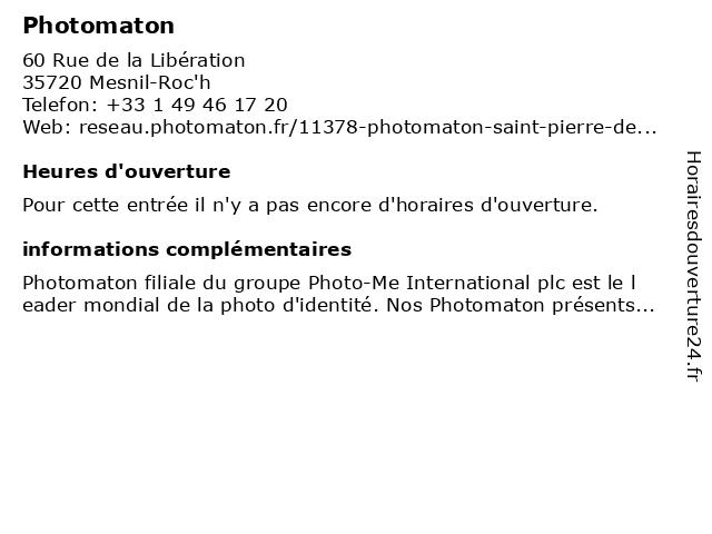 Photomaton à Mesnil-Roc'h: adresse et heures d'ouverture