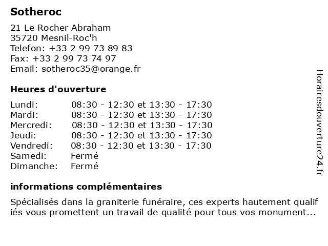Sotheroc à Mesnil-Roc'h: adresse et heures d'ouverture