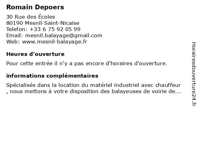 Depoers Albert à Mesnil-Saint-Nicaise: adresse et heures d'ouverture