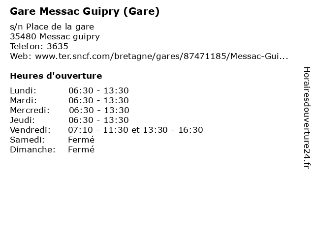Gare Messac Guipry (Gare) à Messac guipry: adresse et heures d'ouverture