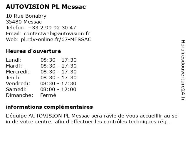 AUTOVISION PL Messac à Messac: adresse et heures d'ouverture