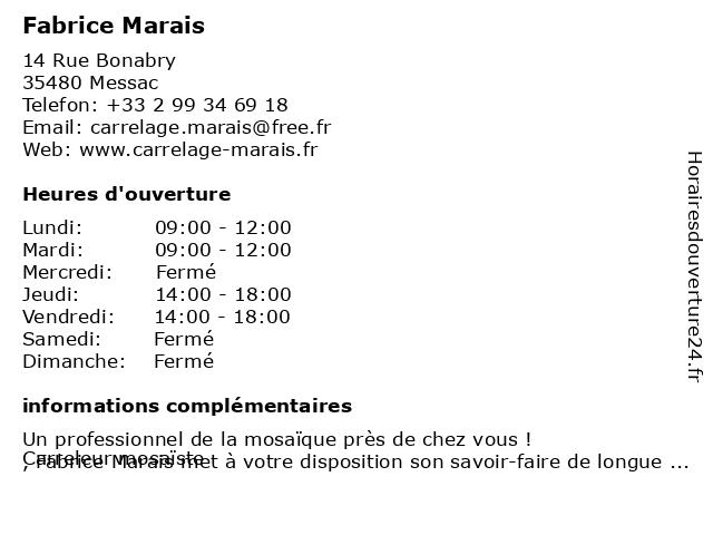 Fabrice Marais à Messac: adresse et heures d'ouverture