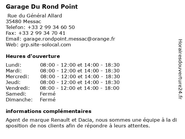 Garage Du Rond Point à Messac: adresse et heures d'ouverture