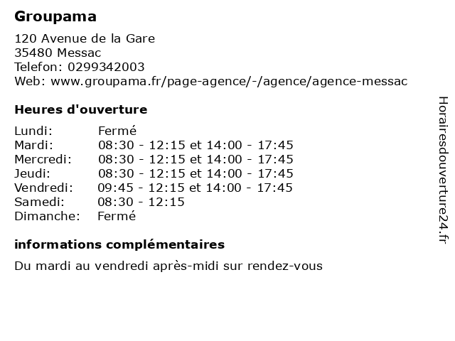 Groupama à Messac: adresse et heures d'ouverture
