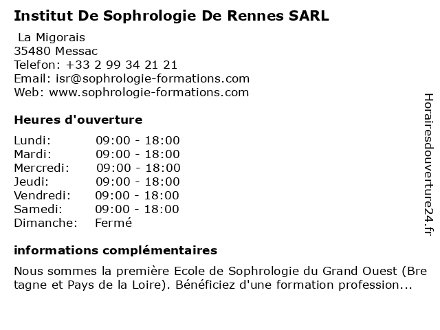 Institut De Sophrologie De Rennes SARL à Messac: adresse et heures d'ouverture