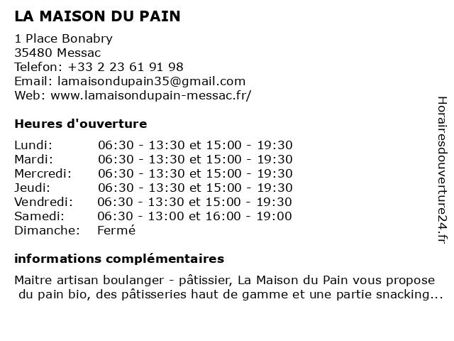 LA MAISON DU PAIN à Messac: adresse et heures d'ouverture