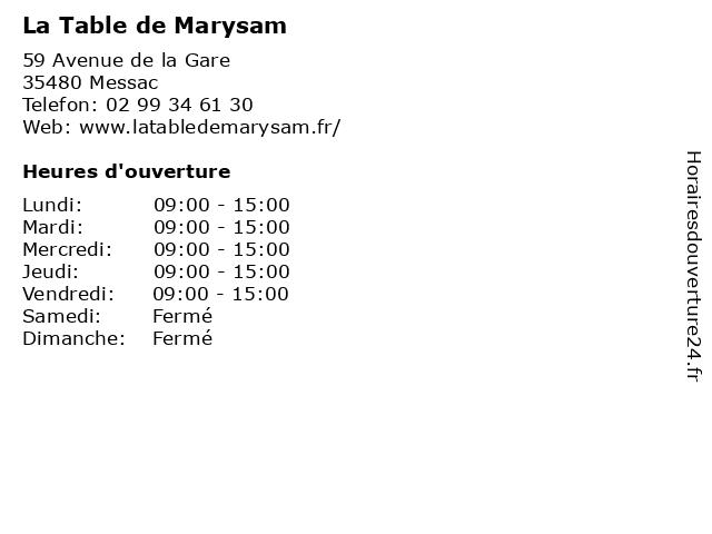 La Table de Marysam à Messac: adresse et heures d'ouverture