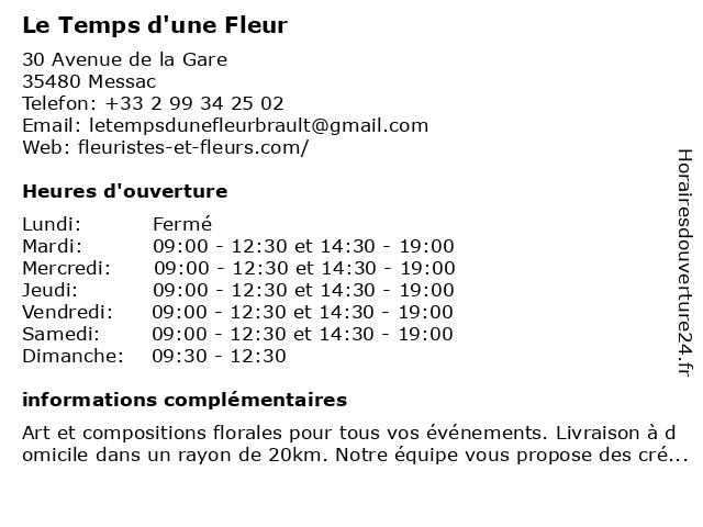 Le Temps d'une Fleur à Messac: adresse et heures d'ouverture