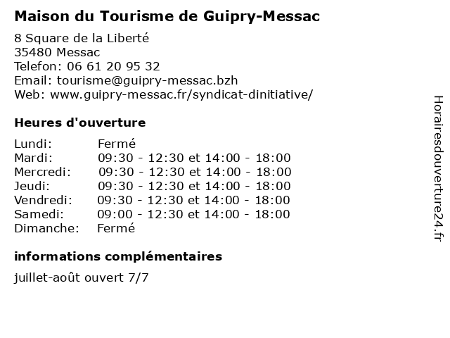 Maison du Tourisme de Guipry-Messac à Messac: adresse et heures d'ouverture