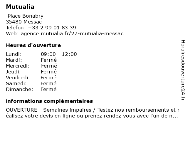 Mutualia à Messac: adresse et heures d'ouverture
