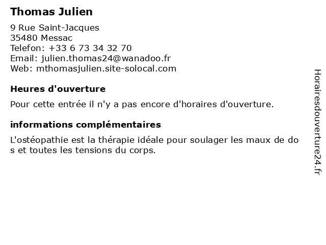 Thomas Julien à Messac: adresse et heures d'ouverture