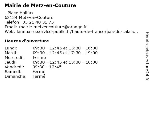 Mairie de Metz-en-Couture à Metz-en-Couture: adresse et heures d'ouverture