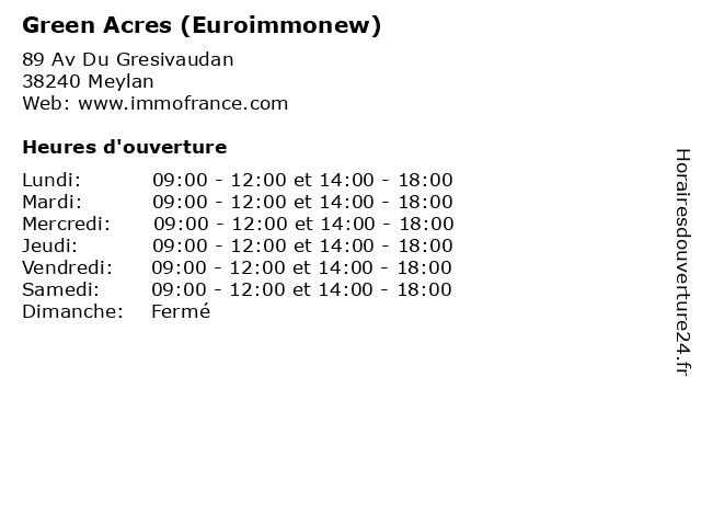 Green Acres (Euroimmonew) à Meylan: adresse et heures d'ouverture