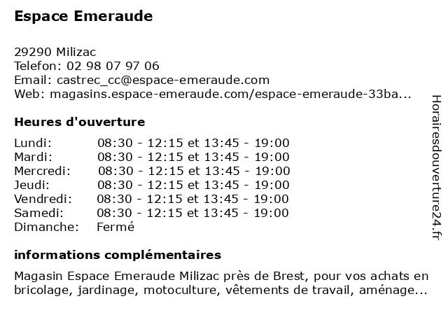 Espace Emeraude à Milizac: adresse et heures d'ouverture