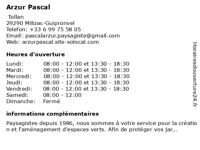 Arzur Pascal à Milizac-Guipronvel: adresse et heures d'ouverture