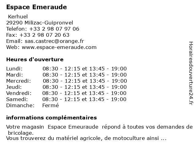 Espace Emeraude à Milizac-Guipronvel: adresse et heures d'ouverture