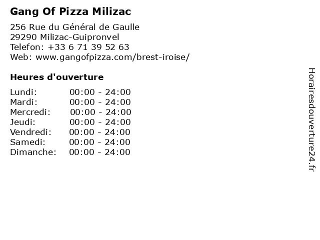 Gang Of Pizza Milizac à Milizac-Guipronvel: adresse et heures d'ouverture