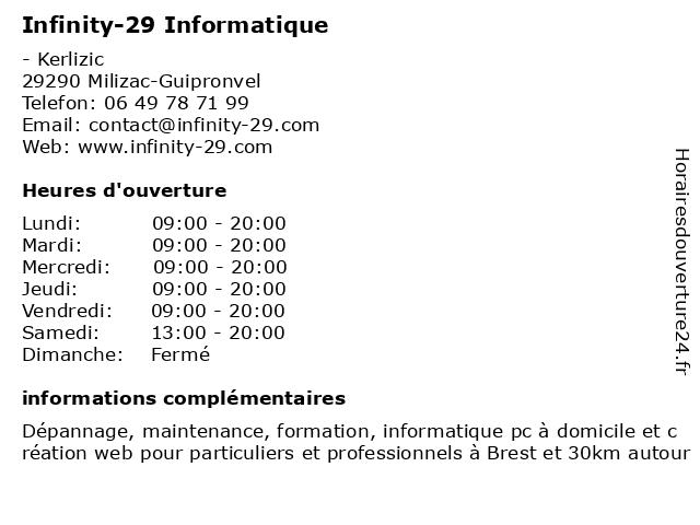 Infinity-29 Informatique à Milizac-Guipronvel: adresse et heures d'ouverture