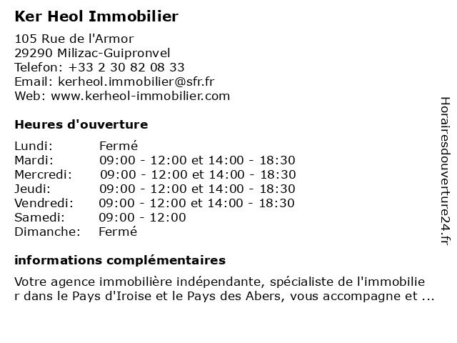 Ker Heol Immobilier à Milizac-Guipronvel: adresse et heures d'ouverture