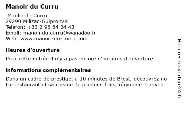 Manoir du Curru à Milizac-Guipronvel: adresse et heures d'ouverture