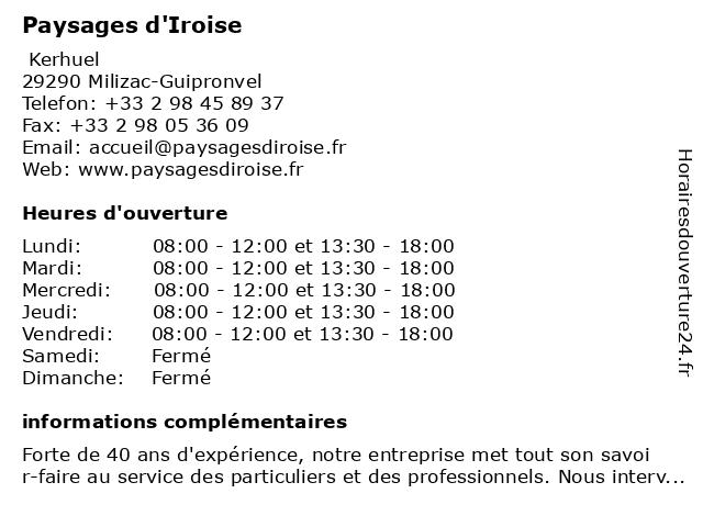 Paysages d'Iroise à Milizac-Guipronvel: adresse et heures d'ouverture