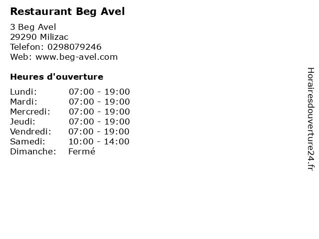 Restaurant Beg Avel à Milizac: adresse et heures d'ouverture