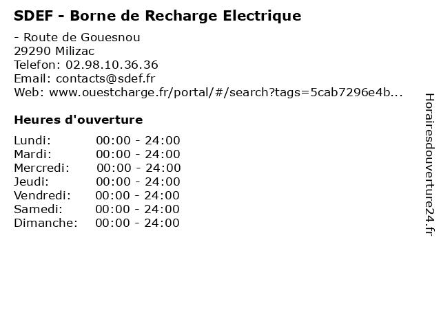 SDEF - Borne de Recharge Electrique à Milizac: adresse et heures d'ouverture