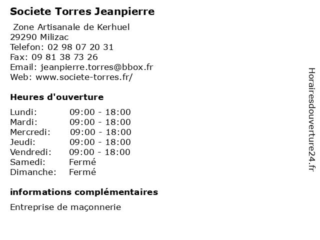 Societe Torres Jeanpierre à Milizac: adresse et heures d'ouverture