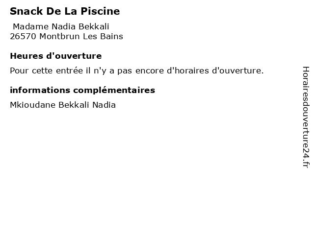 Snack De La Piscine à Montbrun Les Bains: adresse et heures d'ouverture