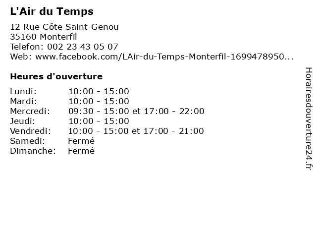 L'Air du Temps à Monterfil: adresse et heures d'ouverture