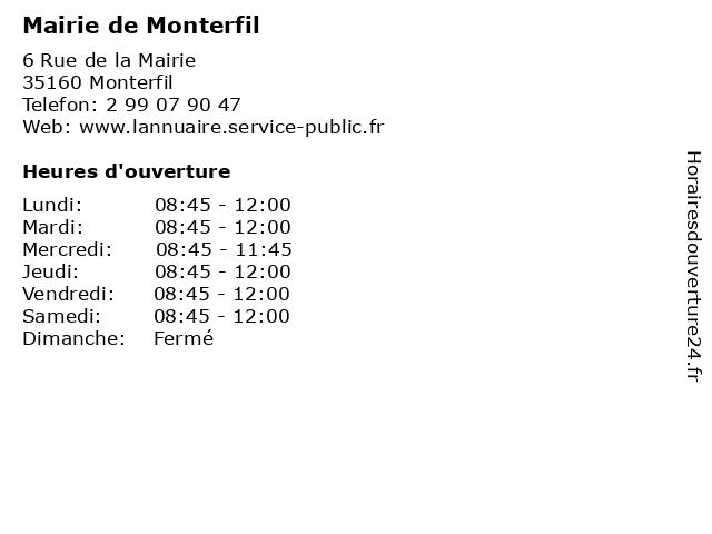 Mairie de Monterfil à Monterfil: adresse et heures d'ouverture