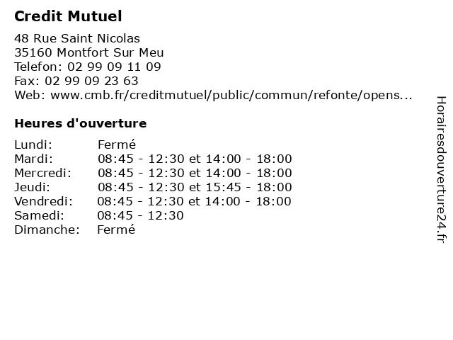 Credit Mutuel à Montfort Sur Meu: adresse et heures d'ouverture