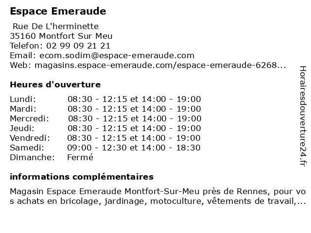 Espace Emeraude à Montfort Sur Meu: adresse et heures d'ouverture