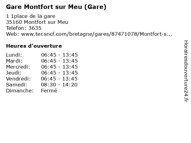 Gare Montfort sur Meu (Gare) à Montfort sur Meu: adresse et heures d'ouverture
